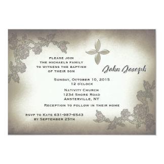 Convite antigo do baptismo dos rosas convite 12.7 x 17.78cm