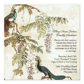 Convite antigo do casamento do pavão do olhar