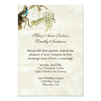 Convite antigo do casamento do Peafowl do olhar