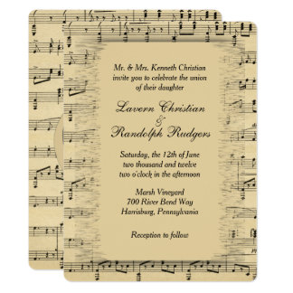 Convite antigo do casamento do tema da música