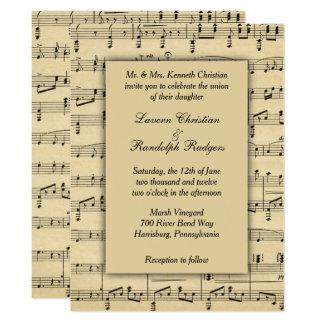 Convite antigo do casamento do tema da partitura