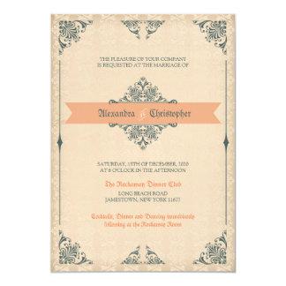 Convite antigo do casamento vintage do estilo do