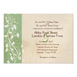 Convite antigo verde do casamento de papel convite 12.7 x 17.78cm