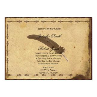 Convite antiquado do casamento do Quill do