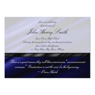 Convite/anúncio de seda azuis da graduação convite 12.7 x 17.78cm