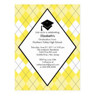Convite Argyle amarelo formal da graduação Cartão Postal