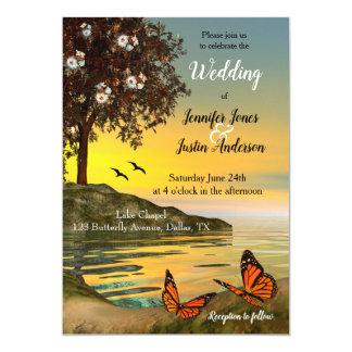 Convite artístico do casamento da borboleta do