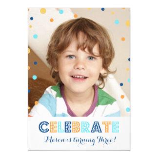 Convite azul alaranjado da foto dos confetes do convite 12.7 x 17.78cm