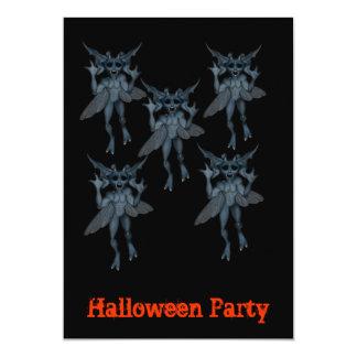 Convite azul assustador do Dia das Bruxas do grupo