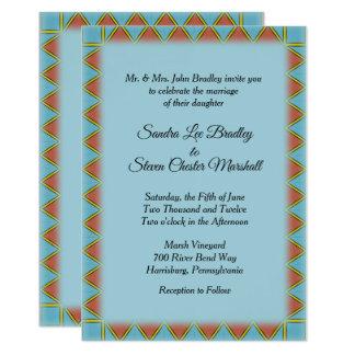 """Convite azul asteca 5"""" do casamento x 7"""""""