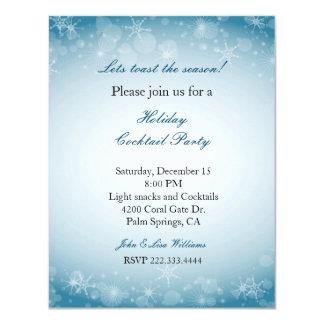Convite azul & branco elegante do feriado do floco