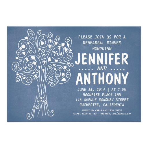 convite azul cinzelado do jantar de ensaio da árvo
