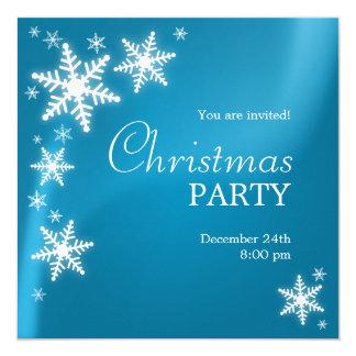 Convite azul congelado flocos de neve da festa de