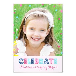 Convite azul cor-de-rosa da foto dos confetes do convite 12.7 x 17.78cm