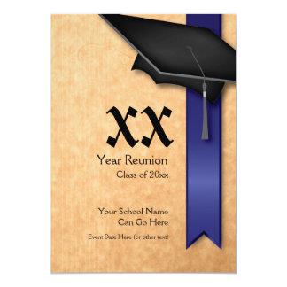 Convite azul customizável da reunião de classe do