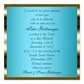 Convite azul da cerimónia de Mitzvah do bar
