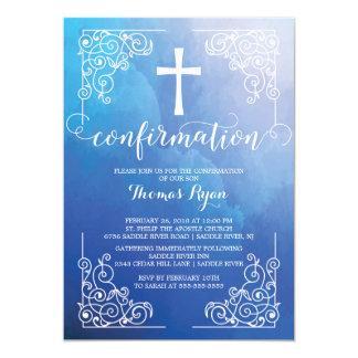 Convite azul da confirmação da cruz da aguarela