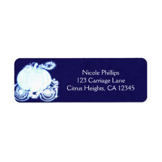 Convite azul da festa de casamento da carruagem de etiqueta endereço de retorno