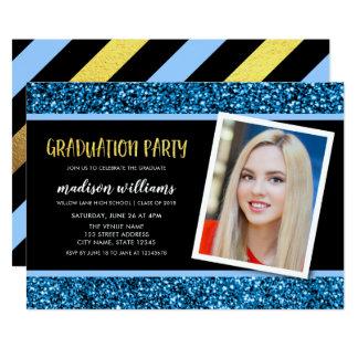 Convite azul da festa de formatura da foto do