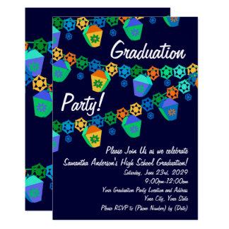 Convite azul da festa de formatura de Luau das