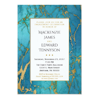 Convite azul da festa de noivado do mármore do