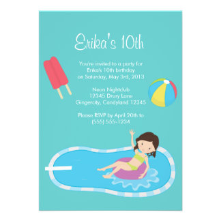 Convite azul da festa na piscina