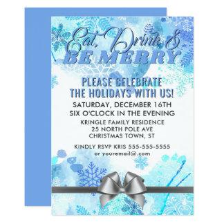 Convite azul da festa natalícia dos flocos de neve