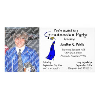 Convite azul da foto da festa de formatura cartão com foto
