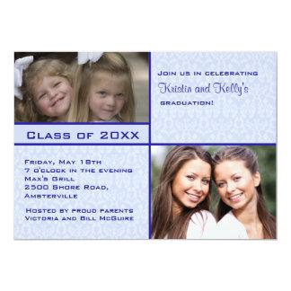Convite azul da graduação da foto do damasco