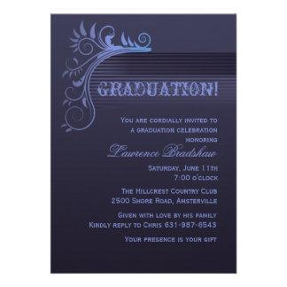 Convite azul da graduação do horizonte