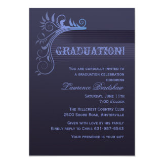 Convite azul da graduação do horizonte convite 12.7 x 17.78cm
