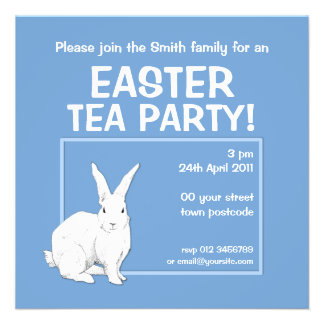 Convite azul da páscoa do coelho