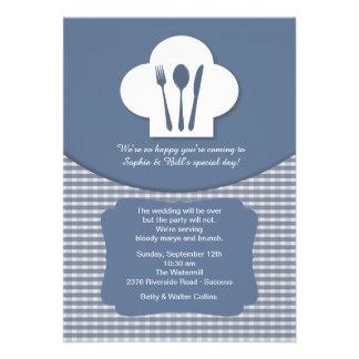 Convite azul da refeição matinal do casamento do