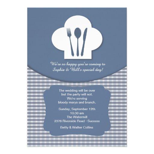 Convite (azul) da refeição matinal do casamento do