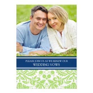 Convite azul da renovação do voto de casamento da