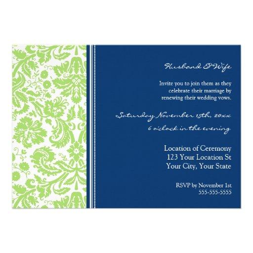Convite azul da renovação do voto de casamento do