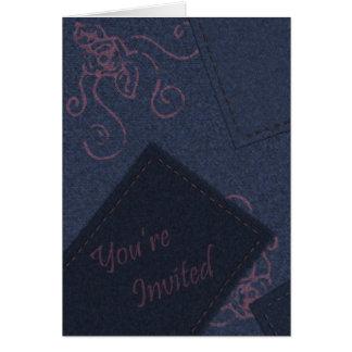 Convite azul da sarja de Nimes Cartão Comemorativo