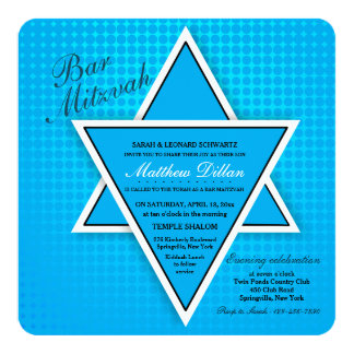 Convite azul de Mitzvah do bar