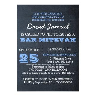 Convite azul de Mitzvah do bar do quadro