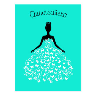 Convite azul de Quinceanera do vestido da
