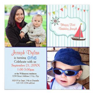 Convite azul do aniversário de criança da foto do