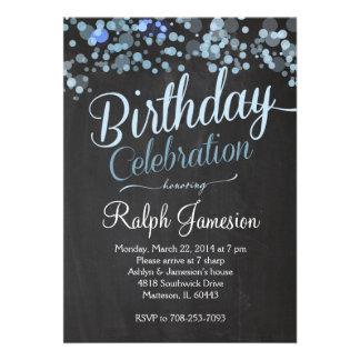 Convite azul do aniversário do brilho da faísca