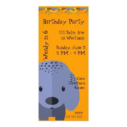 Convite azul do aniversário do filhote de cachorro