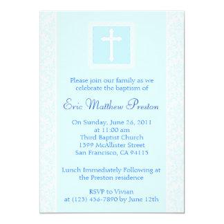 Convite azul do baptismo/batismo