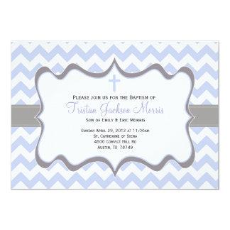 Convite azul do baptismo de Chevron