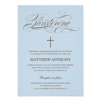 Convite azul do baptismo do convite | do batismo