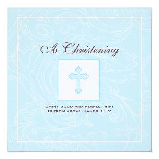 Convite azul do batismo do menino do rolo