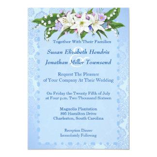 Convite azul do casamento da flor convite 12.7 x 17.78cm
