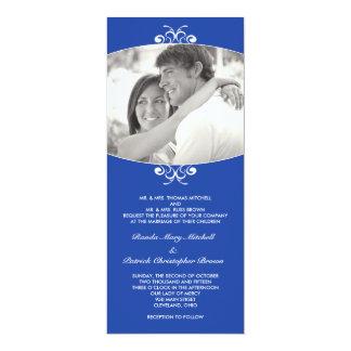 Convite azul do casamento da foto