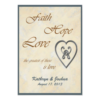 Convite azul do casamento do coração do amor da convite 12.7 x 17.78cm